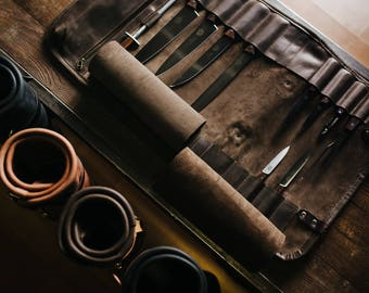 Leather knife roll bag with 18 slots Organizer for kitchen tools Knives storage Chef knife bag Cutlery accessory Christmas gift