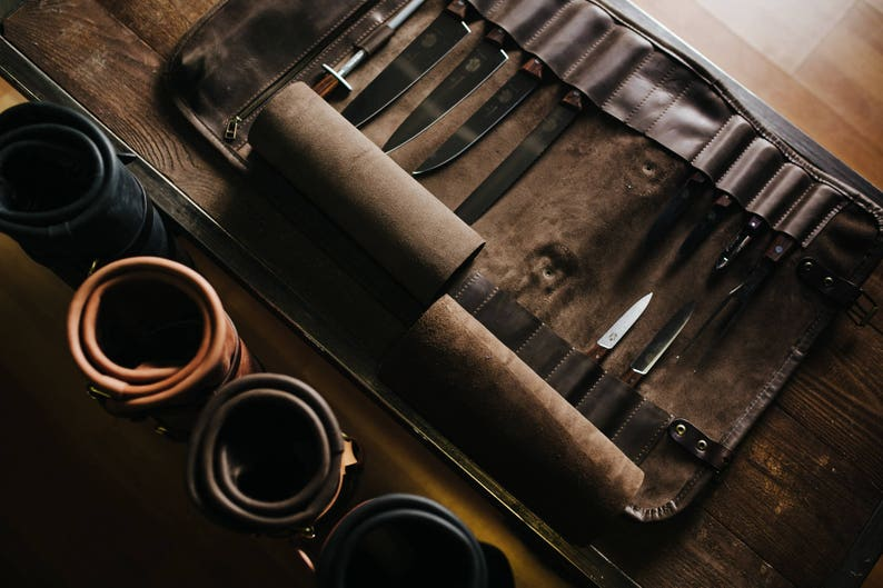 e1bd5ccf96 Leather knife roll Chefs roll by Kruk Garage Gifts for