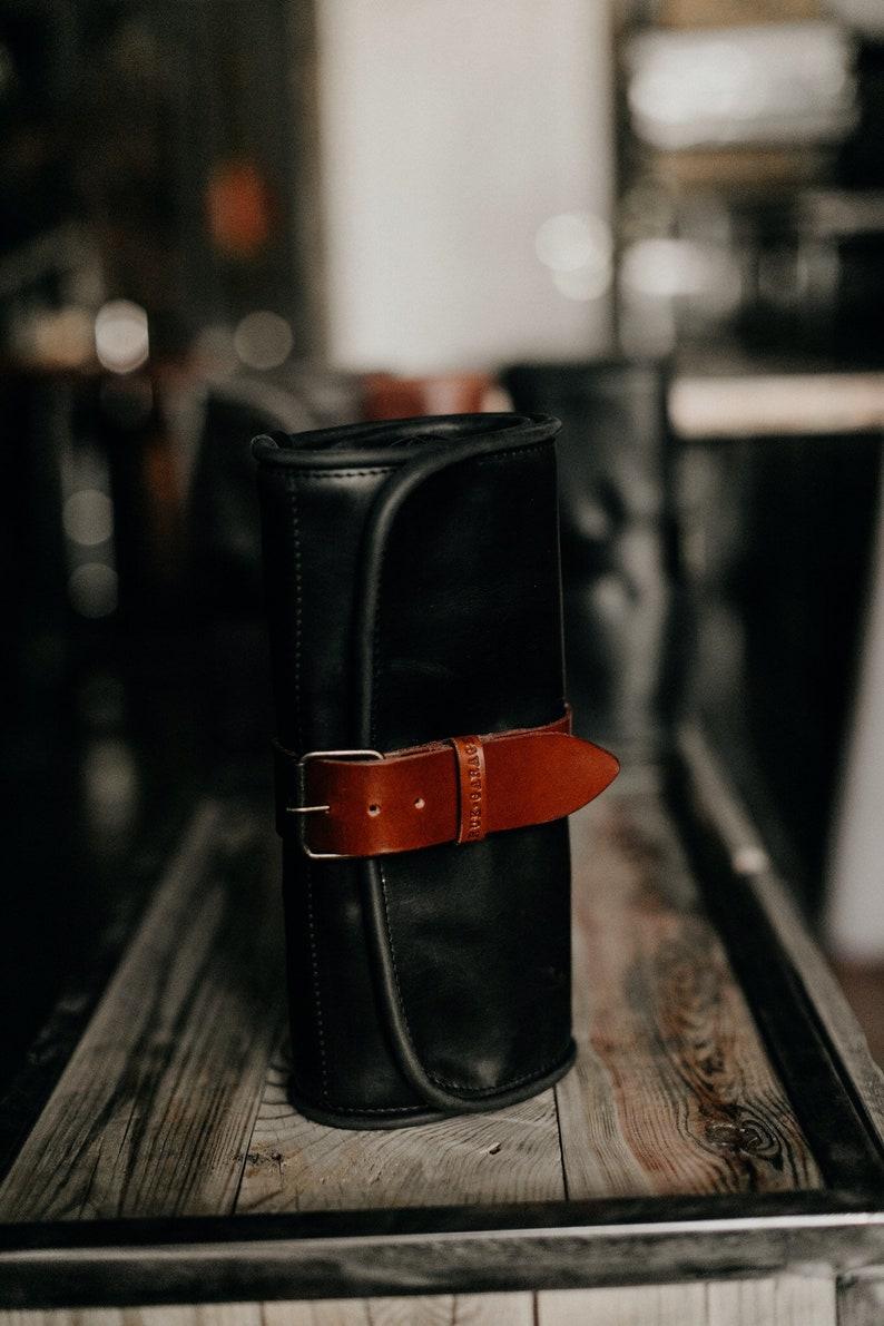 e6c0d50448 Travel Wash roll Black toiletry bag by Kruk Garage Leather