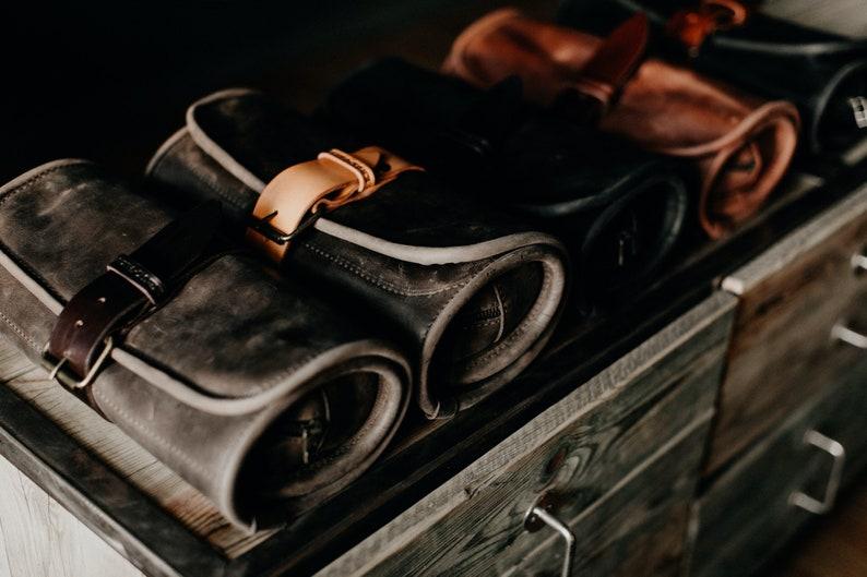 8414517473 Leather Toiletry bag Travel Wash roll by Kruk Garage Dopp kit