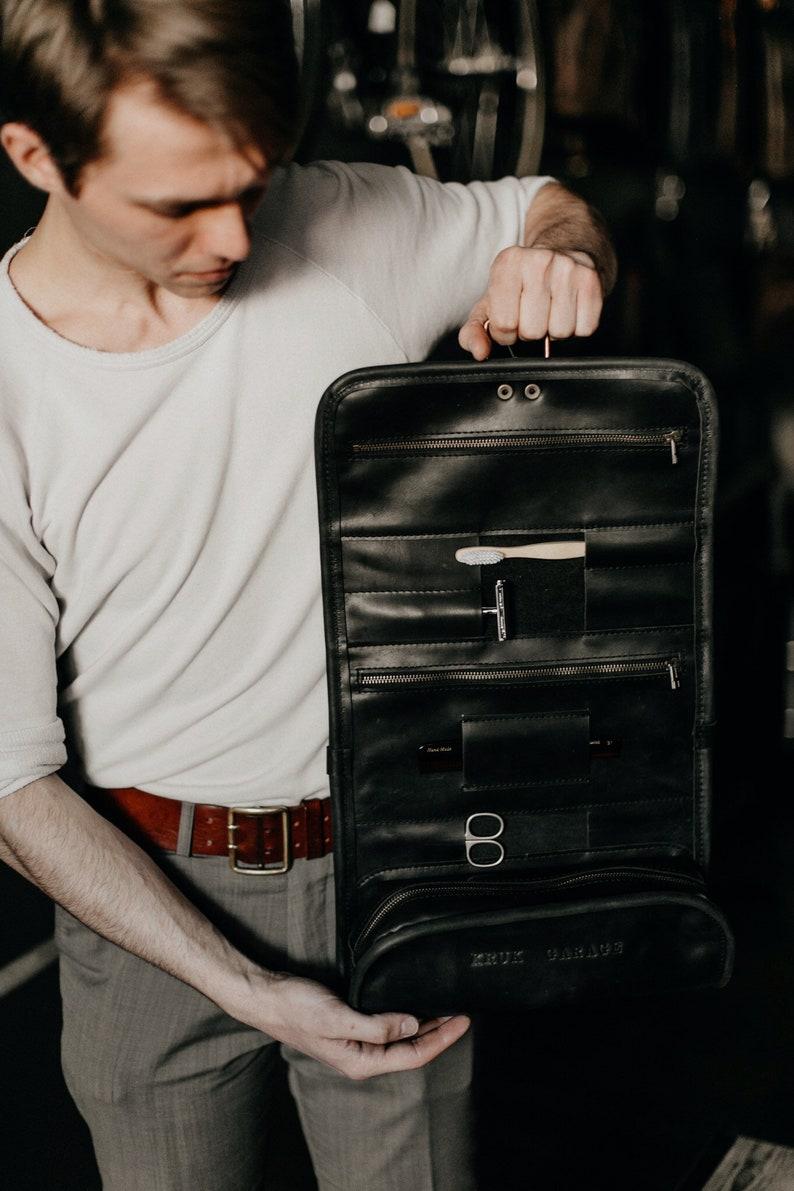 238b2eca34 Leather Wash Roll Travel Toiletry bag by Kruk Garage Dopp kit