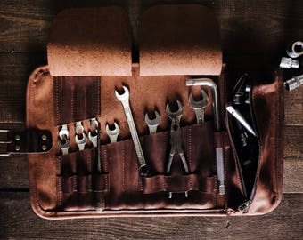 Leather organizer Leather tools roll bag Trunk organizer Tool wrap Car tools storage Garage storage Christmas gift Gift for husband