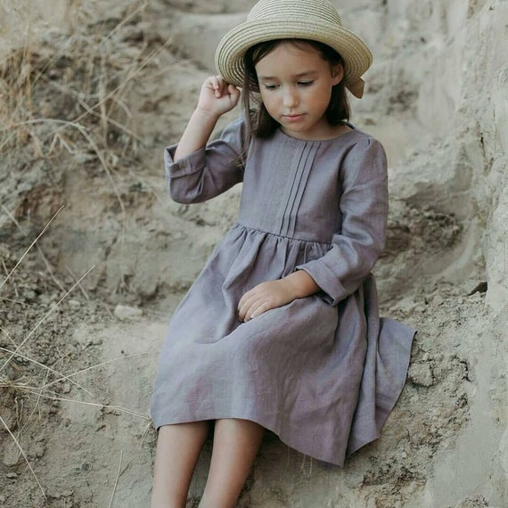 Girls linen dress, girls spring dress, girls dresses, linen dress, not perfect linen, toddler linen dress, flower girl dress