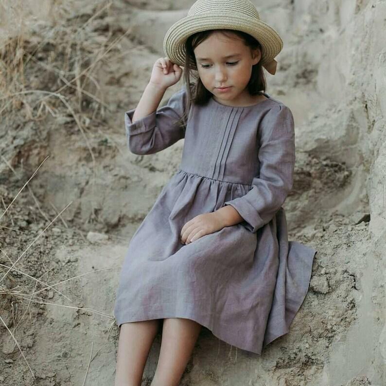 af7450b73f3 Linen dress girls linen dress button dress with pockets