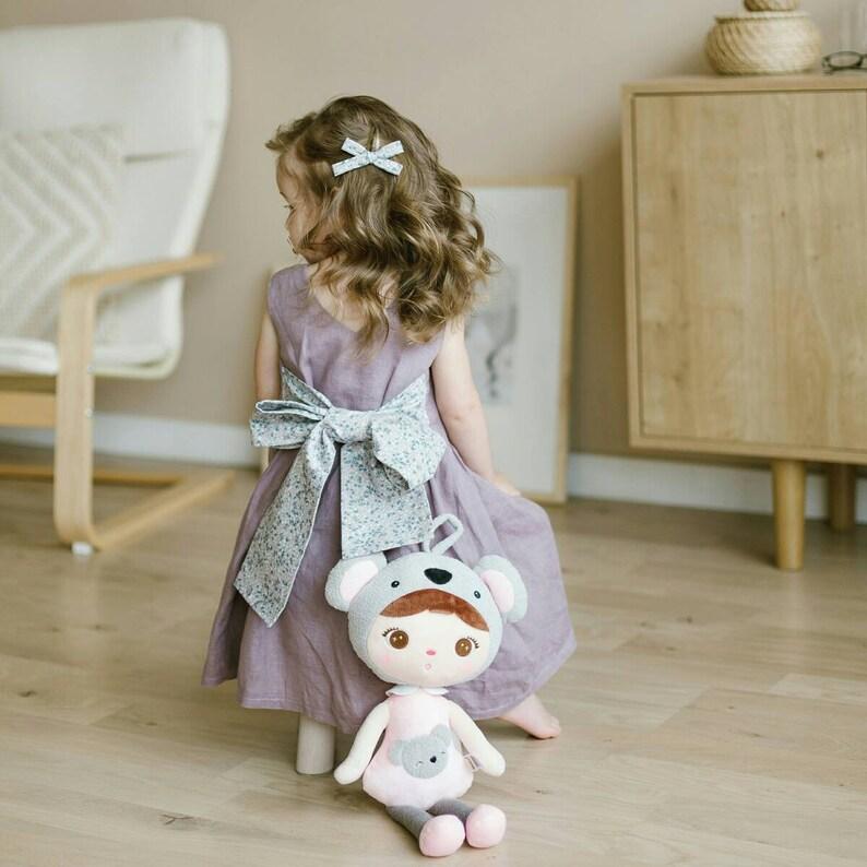 37ec5167bae Linen dress girls - floral dress girls - linen dress buttons - photo dress  for girl - photography dress ...
