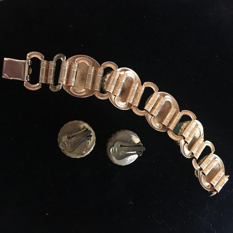 jasper and emerald cabochon bracelet /& earrings set pearl Austrian mid century simulated jade