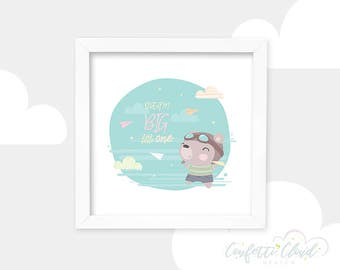 Dream Big, Pilot Teddy Bear Printable Picture, Cute Nursery Wall Art, Instant Download, Kids Room, Cute Baby Room Decoration, Paper Planes