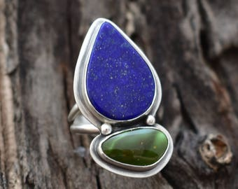 "Size 9.5 Lapis Luzuli and Paradise Turquoise Ring in Sterling Silver, ""Earth and Sky, ""Statement Ring, Double Stone Artisan Quality Jewelry"