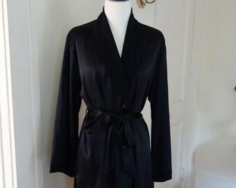 Large Vintage Robe Black Silky Robe Loungewear Sleepwear Lingerie Lounge House Coat Dressing Gown 1990s Vintage
