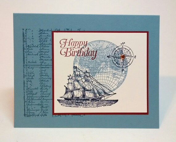 Birthday Card Handmade Card Nautical Card Stampin Up Card Etsy