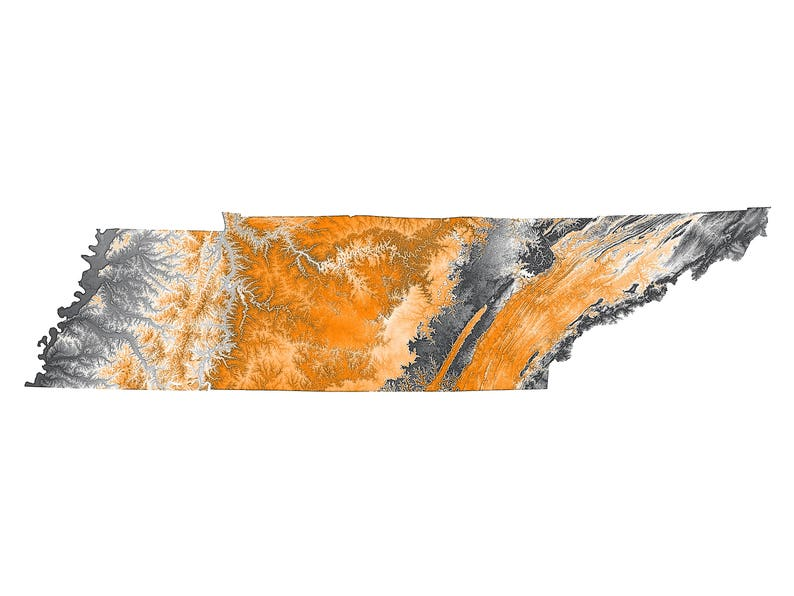 Tennessee Topographic Map In Orange And Gray Etsy