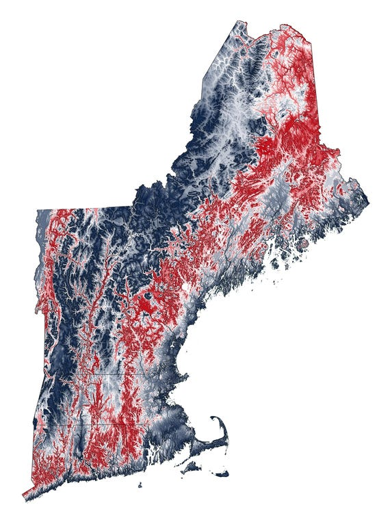 Topographic Map Of New England.New England Topographic Map In Red And Blue Etsy