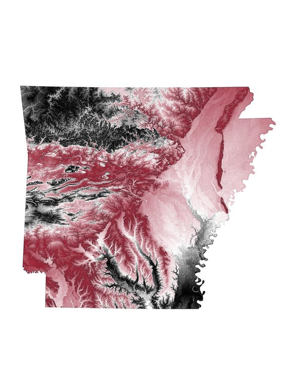 Arkansas Topographic Map in Cardinal and Black