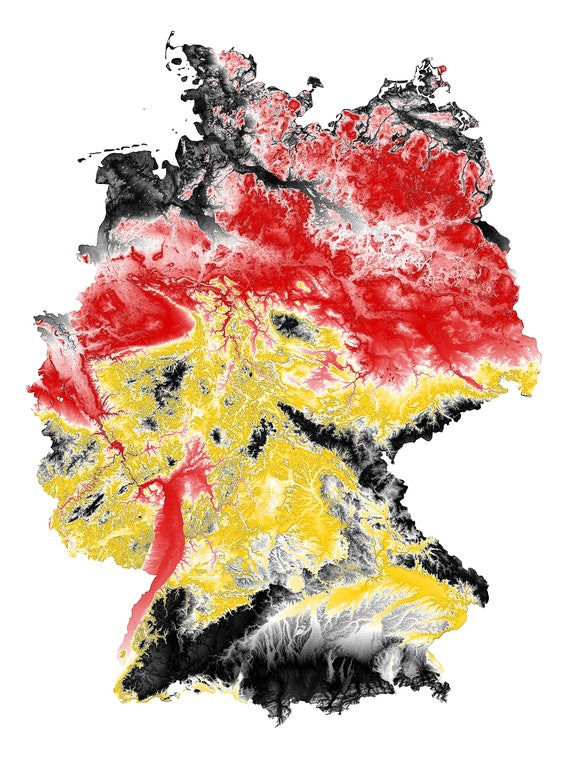 Germany Topographic Map in German Flag Colors | Etsy