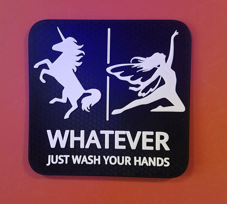 Unicorn Fairy Bathroom Sign Whatever Just Wash Your Hands image 0