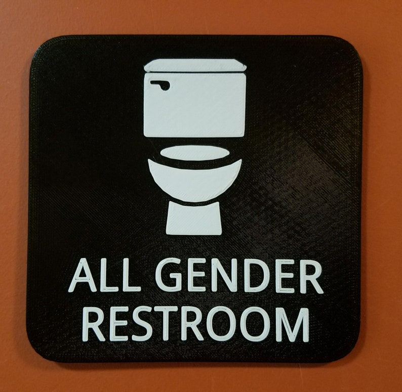 All Gender Bathroom Restroom Sign Black