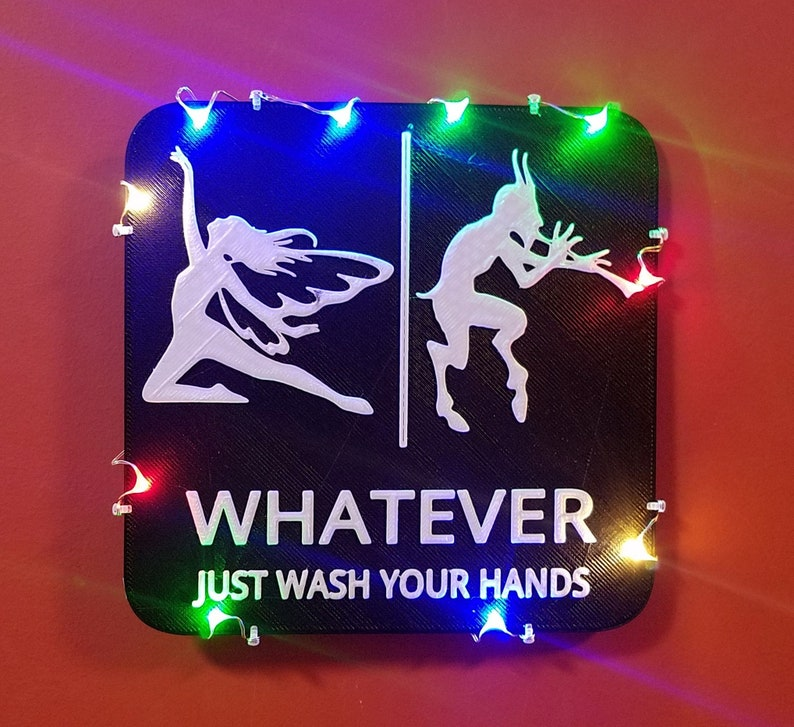 Fairy Faun Bathroom Sign LED Lights Whatever Just Wash Your Black