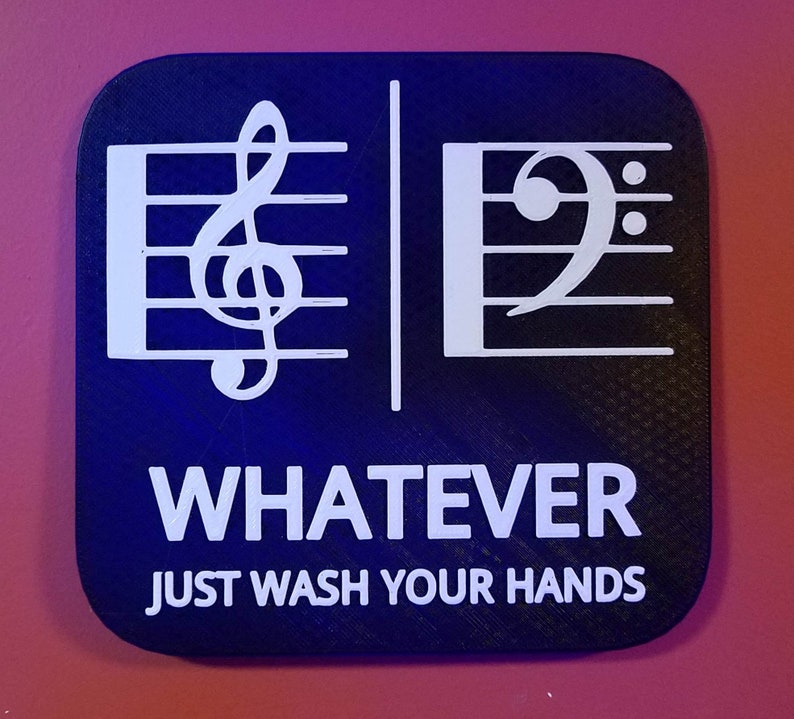 Treble  / Bass Clef Music Bathroom Sign Whatever Just Wash Black