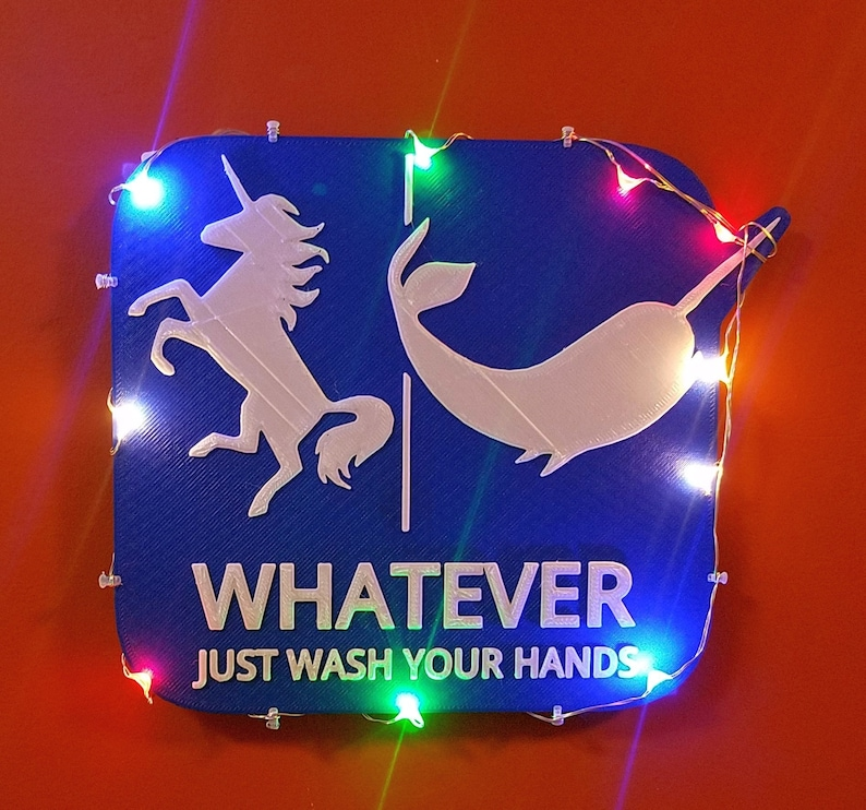 Unicorn Narwahl Bathroom Sign LED Lights Whatever Just Wash image 0