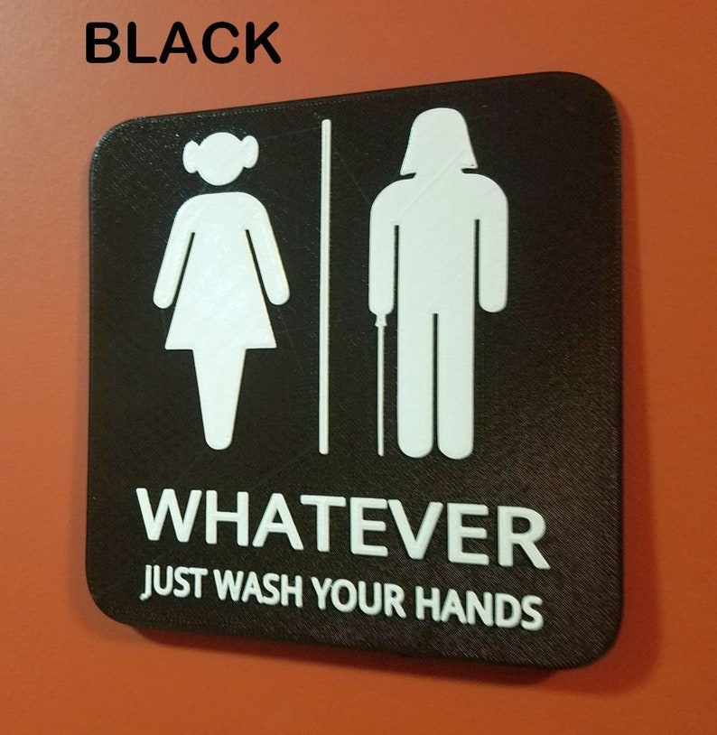 Princess Leia Darth Vader Gender Neutral Bathroom Restroom Black