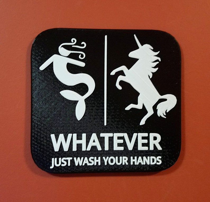 Mermaid Unicorn Bathroom Sign Whatever Just Wash Your Hands Black
