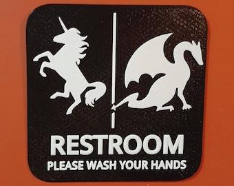Unicorn Dragon Restroom Gender Neutral Bathroom Sign Braille 3D Printed
