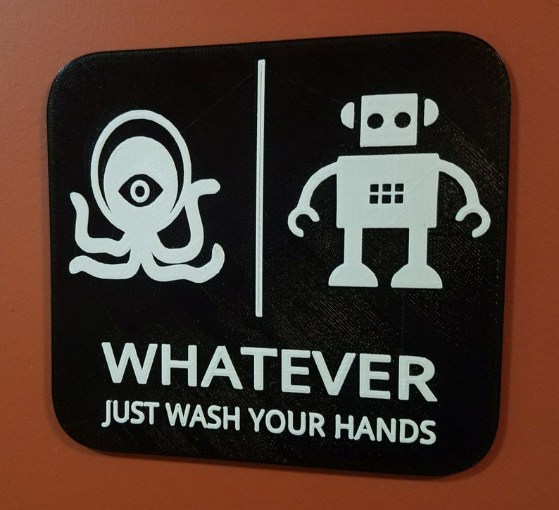 Alien Robot Gender Neutral Bathroom Restroom Sign Whatever Black