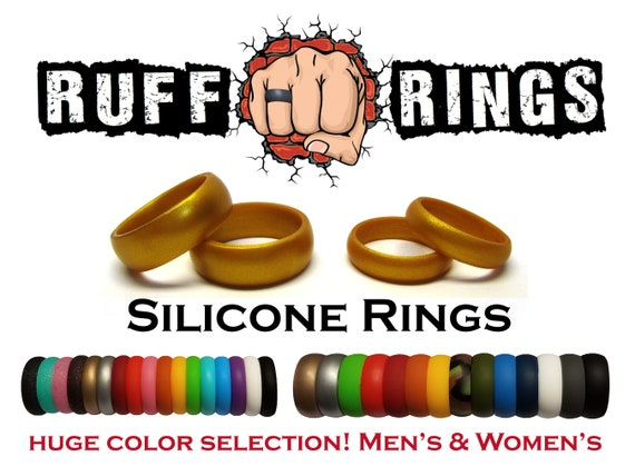 GOLD Silicone Wedding Ring Band RUFF RINGS Flexible and Durable Gold Ring Band