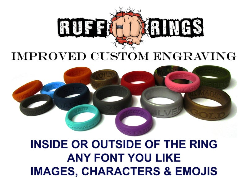 RUFF RINGS - Custom Engraved Personalized Silicone Wedding Rings - Custom  Name/Date/Message Engraving / Silicone Wedding Band Rings