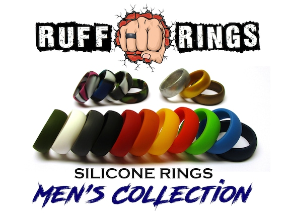 BLACK Silicone Wedding Ring Band RUFF RINGS Affordable Silicone Rings