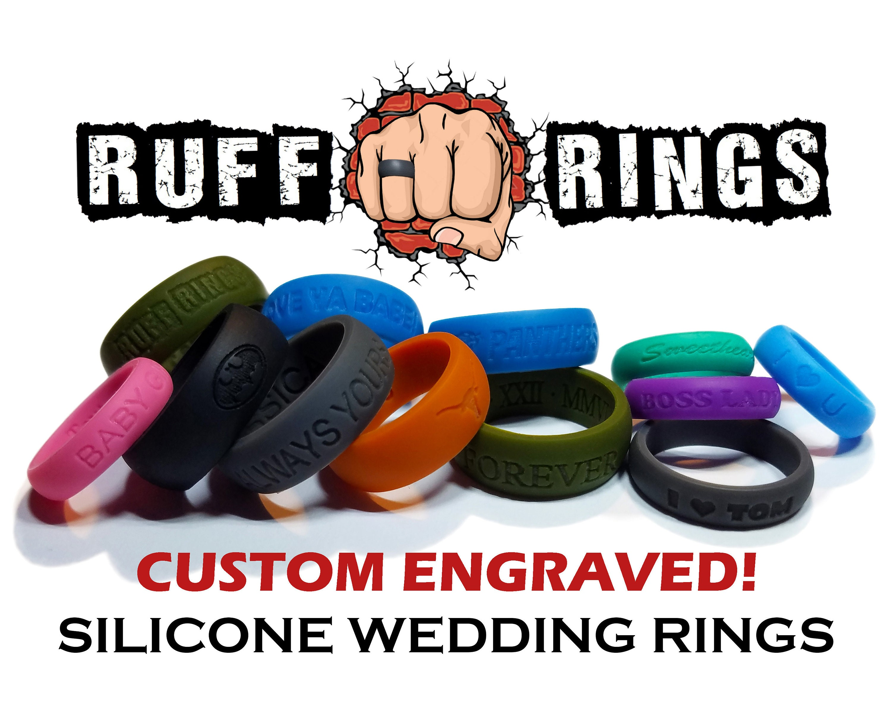 Silicone Ring Custom Engraved Personalized Name Date Phrase