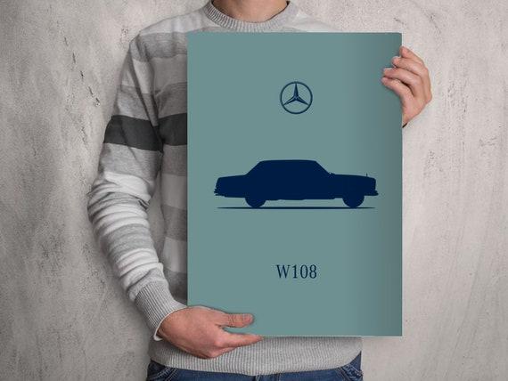 POSTER MERCEDES BENZ W108 A4 A3 A2 Size Art Print Car Silhouette S Class -