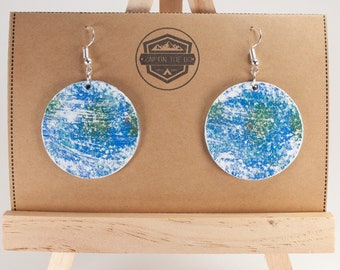 Earth Earrings | Planetary | Planet Jewelry | Natural Gifts | Gifts for Her | Mother Earth | Recycled | Made in the USA | Planet Earth