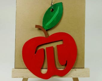 Apple Pi Ornament | Teacher Ornament | Teacher Gift | Math Geek | Nerdy Ornament | Math Nerd | Pi Day | 3.14 | Pie Day | Apple Pie