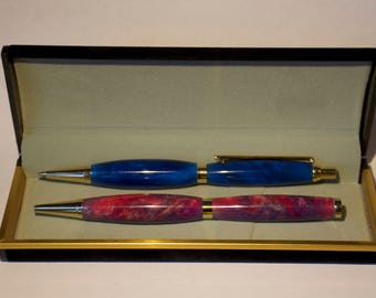 Handcrafted Slimline Space and Ocean Pen and Mechanical Pencil Set