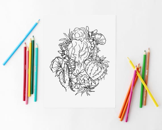 Coloring Page Floral Coloring Succulent Coloring Pages Cactus