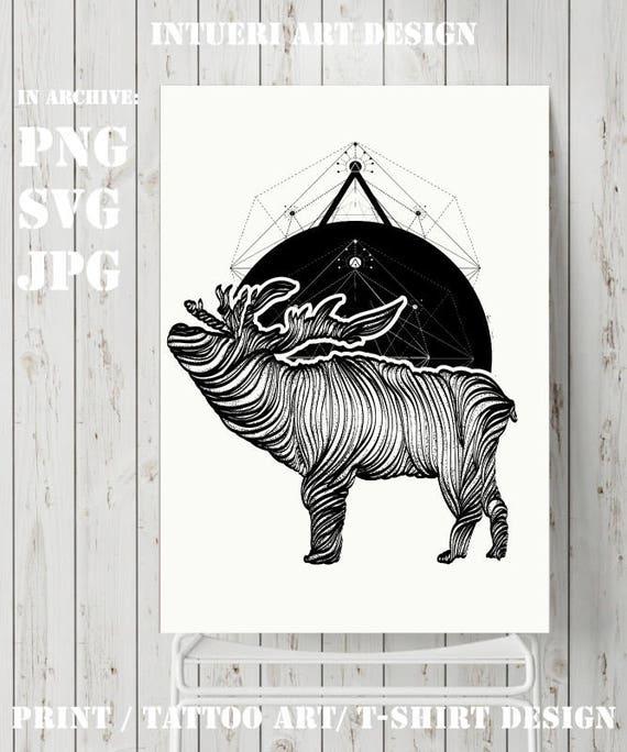 Deer Svg Reindeer Svg Deer Tattoo Geometrical Style Etsy