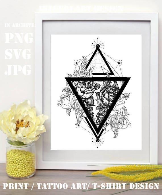 Roses Svg Róże W Trójkącie Sztuki Tatuażu Symbol Wolności Piękna Tatuaż Dla Kobiet Piękne Róże Svg Png Jpg Geometryczny Styl