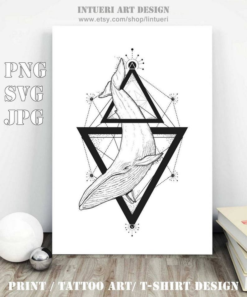 707ff2d9a Whale tattoo geometric style. Whale svg Mystical symbol | Etsy