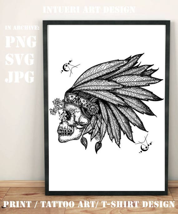 Indian Skull Svg Indian Skull Tattoo Art Warrior Symbol Native