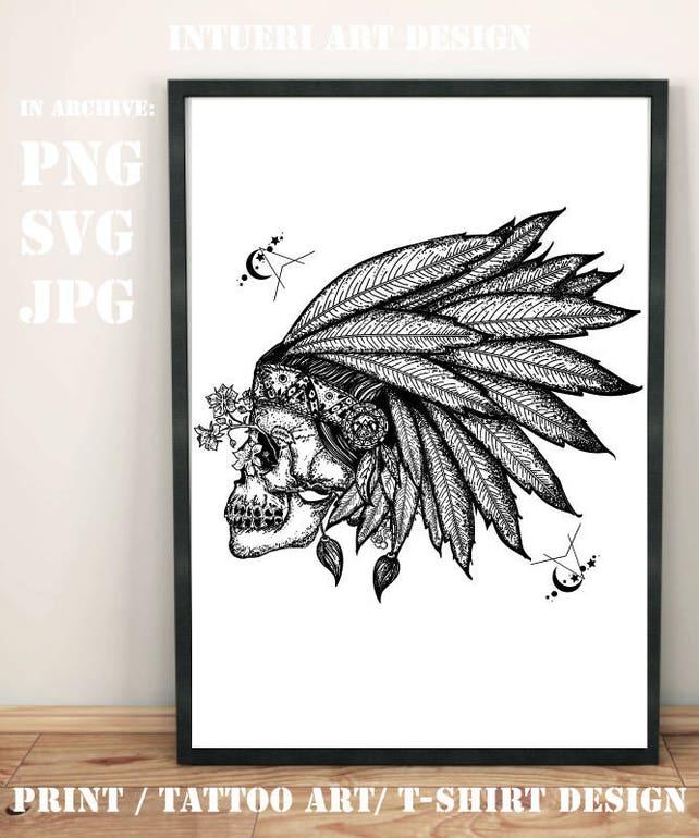 Indian Skull Svg Indian Skull Tattoo Art Warrior Symbol Etsy