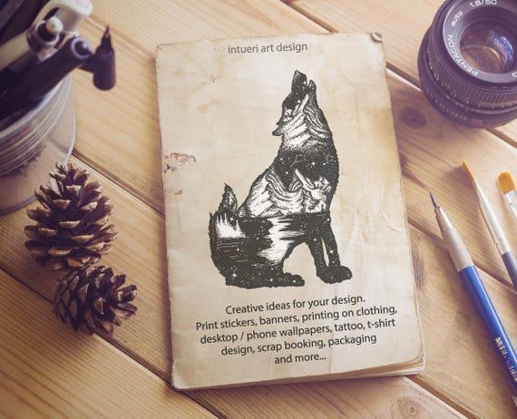 Wilk Podwójnej Ekspozycji Sztuki Tatuażu Wilk Svg Symbol Etsy