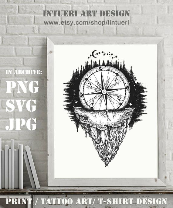 Mountain And Compass Adventure Travel Outdoors Symbol Etsy