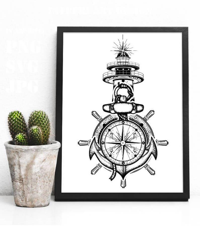 e50938271 Anchor svg steering wheel compass lighthouse tattoo art. | Etsy