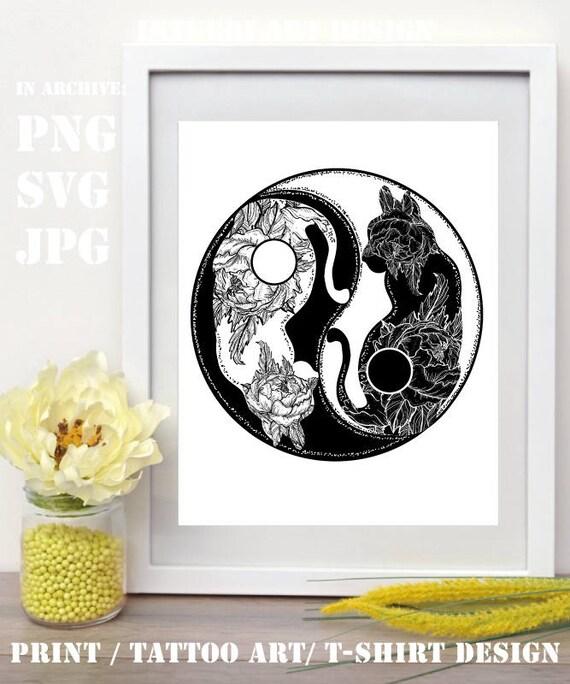 Koty Tatuaż Yin I Yang Boho Mandala Symbol Harmonii I Etsy