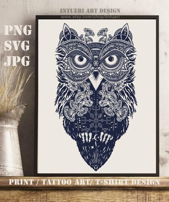 Sowa Svg Tattoo Art Sowa Etnicznych Stylu Celtic T Shirt Design Sowa Celtic Png Symbol Mądrości Medytacja Sowa Clipartów Wektor Svg Jpg