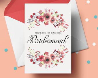 Digital Download - Thank you for being our Bridesmaid Artwork - INSTANT DOWNLOAD