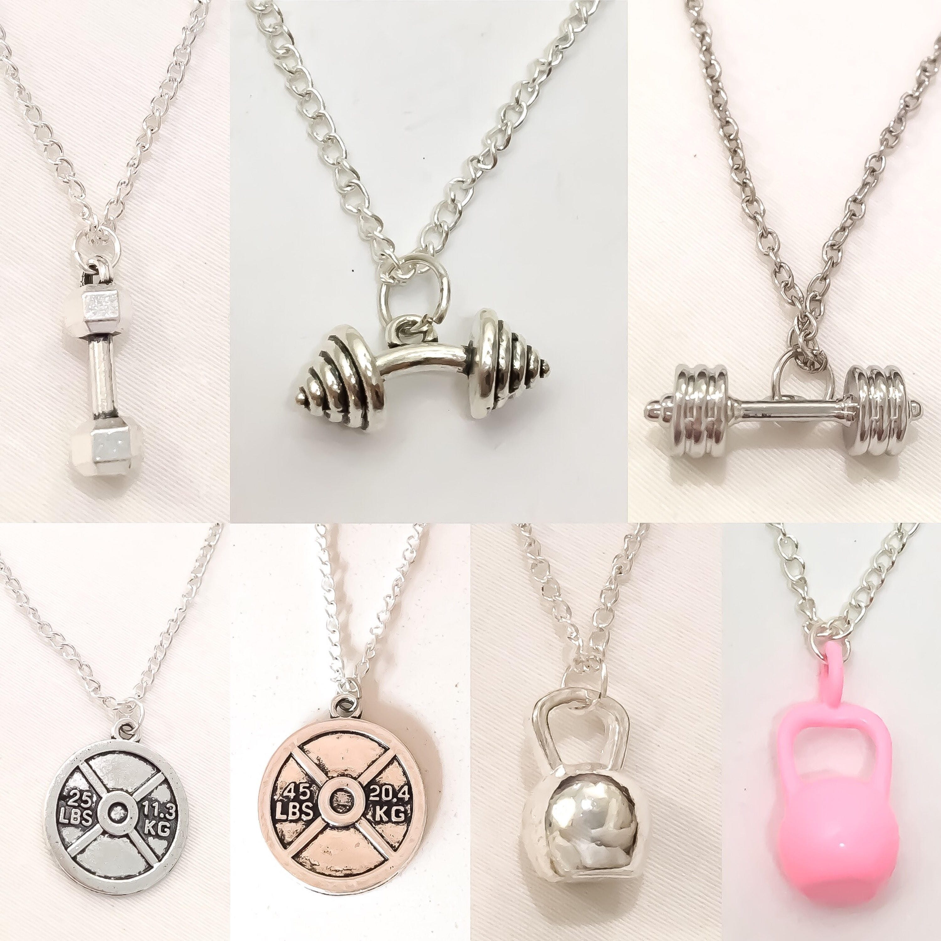 Fitness Necklace Dumbbell Charm Barbell Jewelry Weight