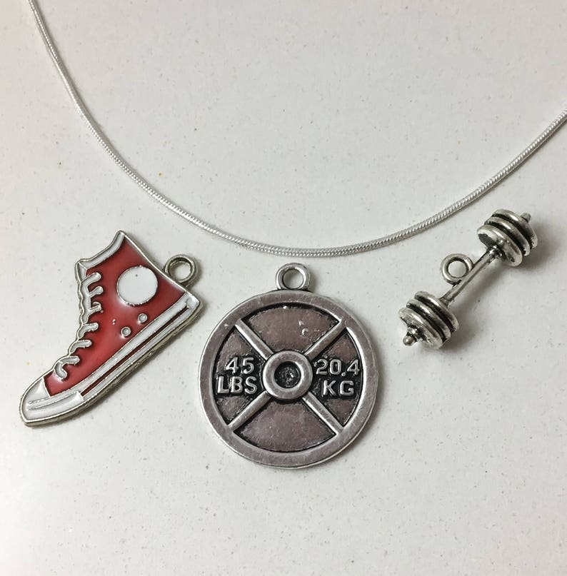 Weightlifting Necklace Fitness Charms Sneaker