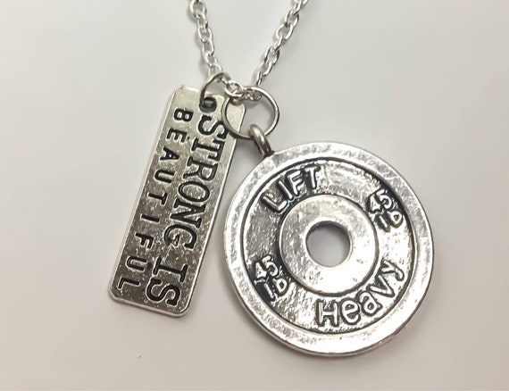 Strong Is Beautiful Necklace Weightlifting Gift Fitness